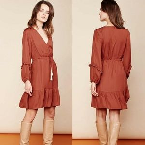 Dolan Liv Crossover Cross Front Ruffle Boho Dress